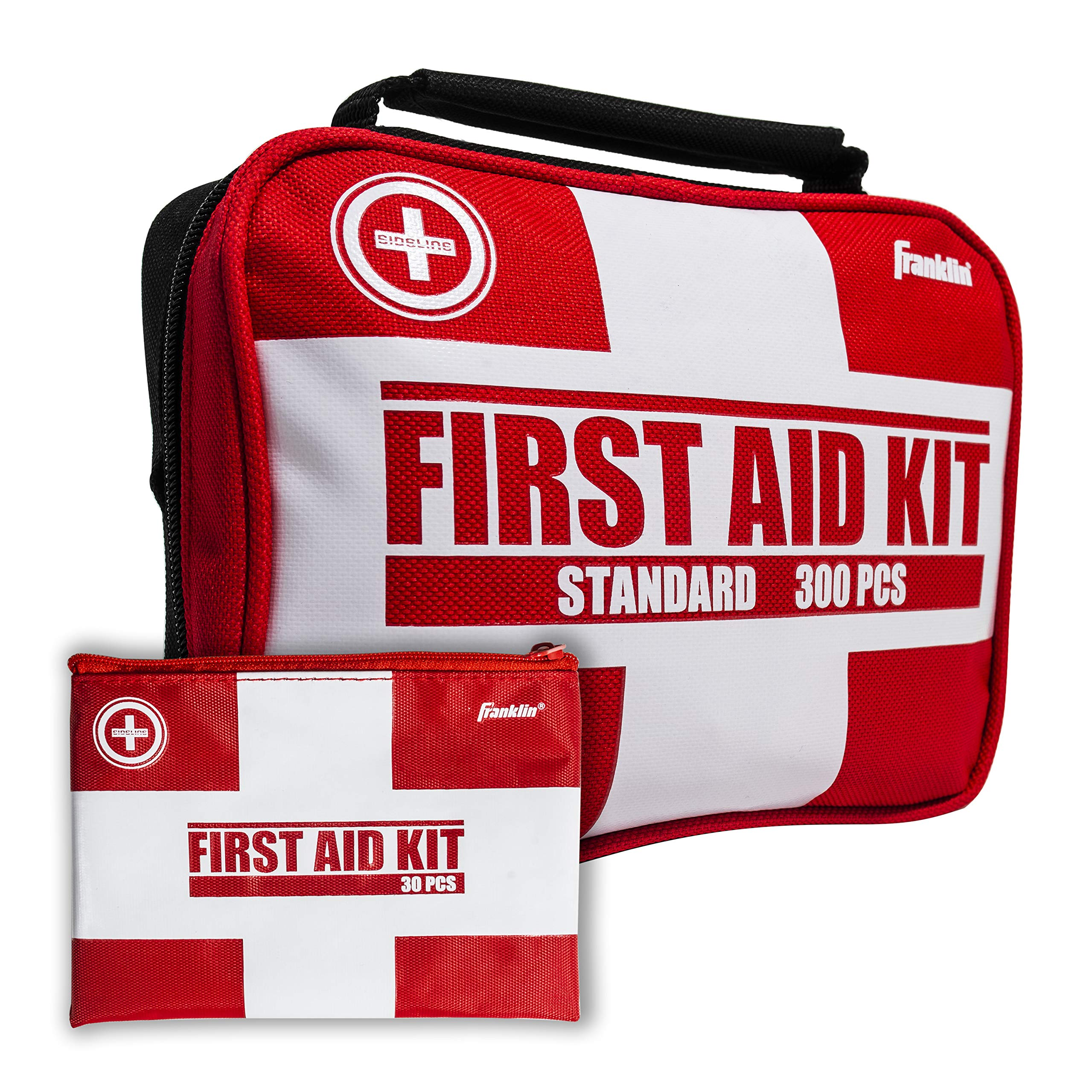 Franklin Sports Sideline 2-in-1 Team Sports First Aid Kit (300 Piece) + Bonus 30-Piece Mini First Aid Kit - Compact for Home, On The Field, Outdoors, Car, Camping, Workplace, Hiking - FDA Approved by Franklin Sports