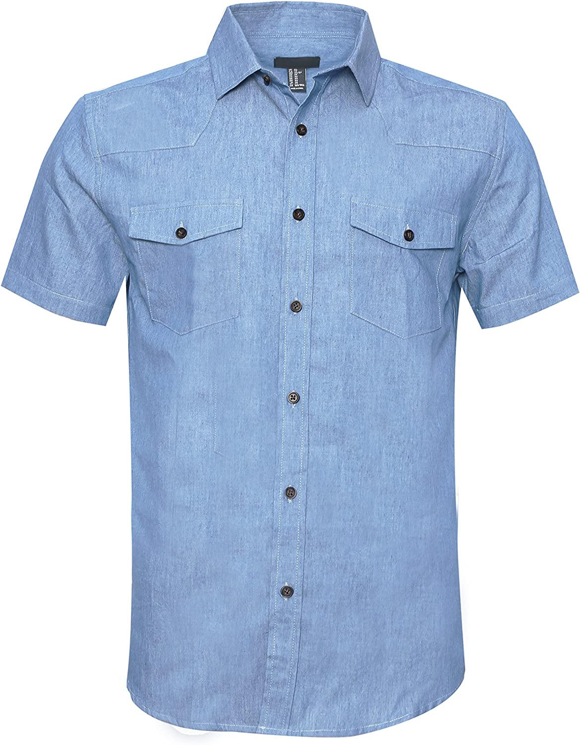 AVANZADA Mens Big /& Tall Fort Short Sleeve Denim Shirt Lightweight Chambray ButtonDark Blue