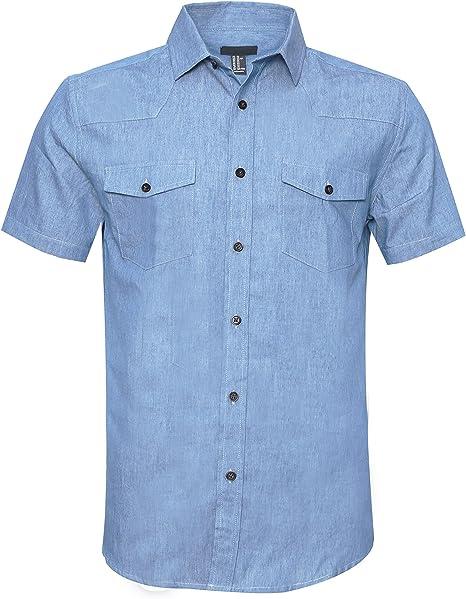 Men/'s Chambray Short Sleeve Shirt 100/% Cotton