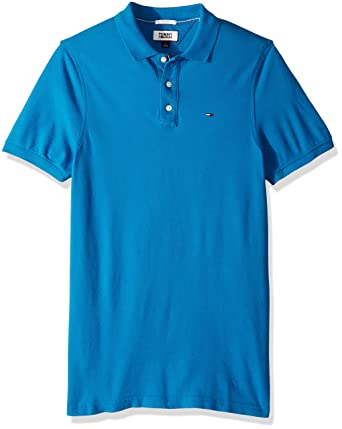 91043faa Tommy Hilfiger Men's Polo Shirt Original Flag with Short Sleeves, Blue  Sapphire X-Small