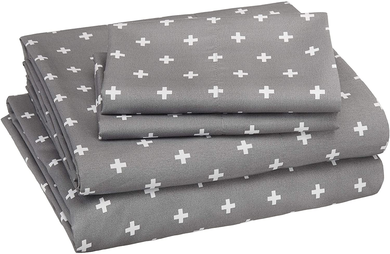 AmazonBasics Soft Microfiber Sheet Set with Elastic Pockets - Queen, Grey Plus's