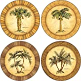 """CoasterStone AS1990 Absorbent Coasters, 4-1/4-Inch, """"Palm Trees"""", Set of 4"""