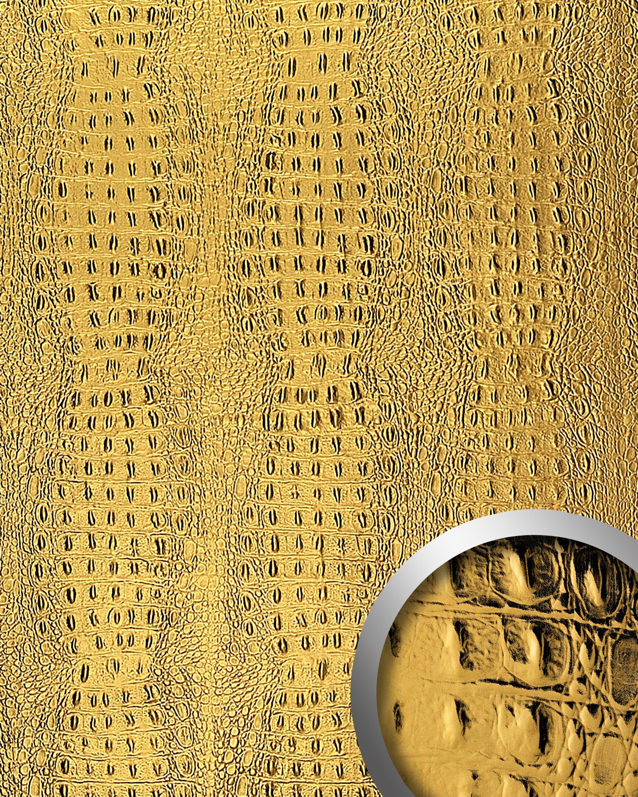 WallFace 14300 CROCO Wall panel leather 3D interior decor luxury wallcovering decoration self-adhesive gold   2,60 sqm