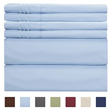 King Size Sheet Set - 6 Piece Set - Hotel Luxury Bed Sheets - Extra Soft - Deep Pockets - Easy Fit - Breathable & Cooling Sheets - Comfy - Light Blue Bed Sheets - Baby Blue - Kings Sheets - 6 PC
