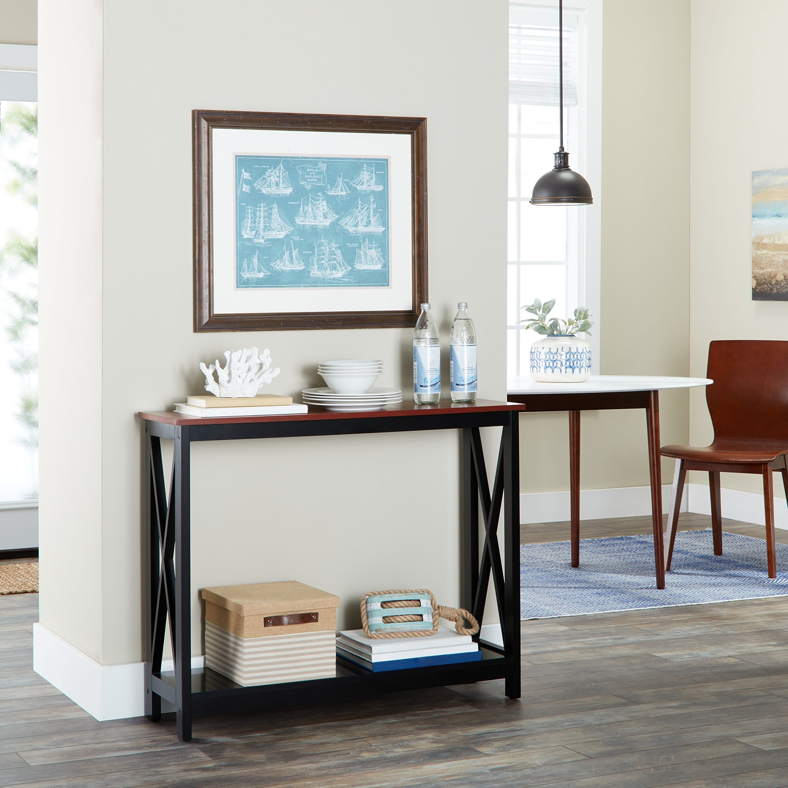 Modern Bywater Dauphine Console Table MDF Veneer Wood Rectangle 1 Piece (Cherry/Black)