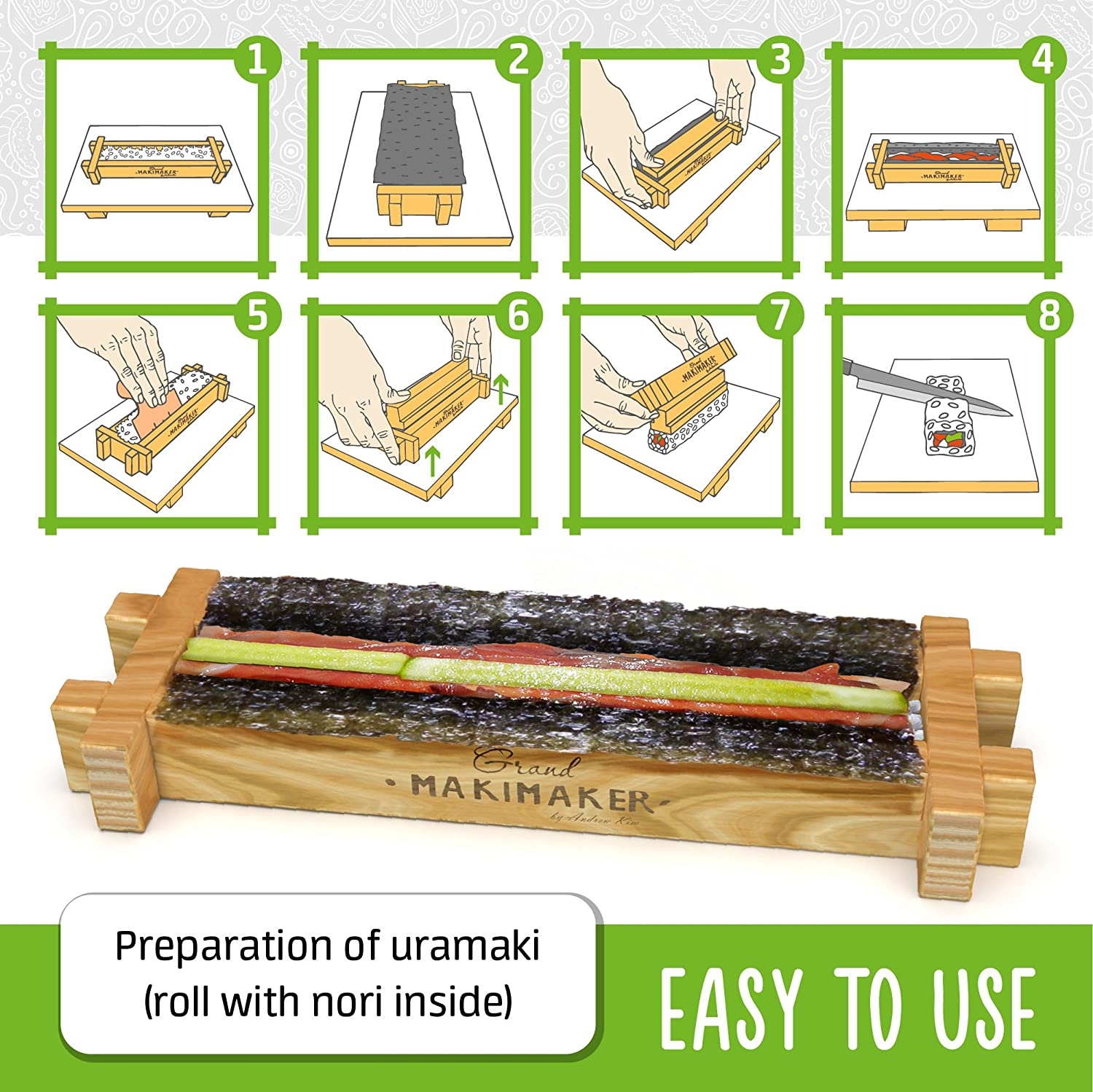 Sushi Making Kit by iSottcom Makimaker Grand Japanese Sushi and Rolls at Home with Easy Sushi Press Sushi Maker Your Best Professional Quick Sushi Making Set Sushi Kit for Chef and Beginners