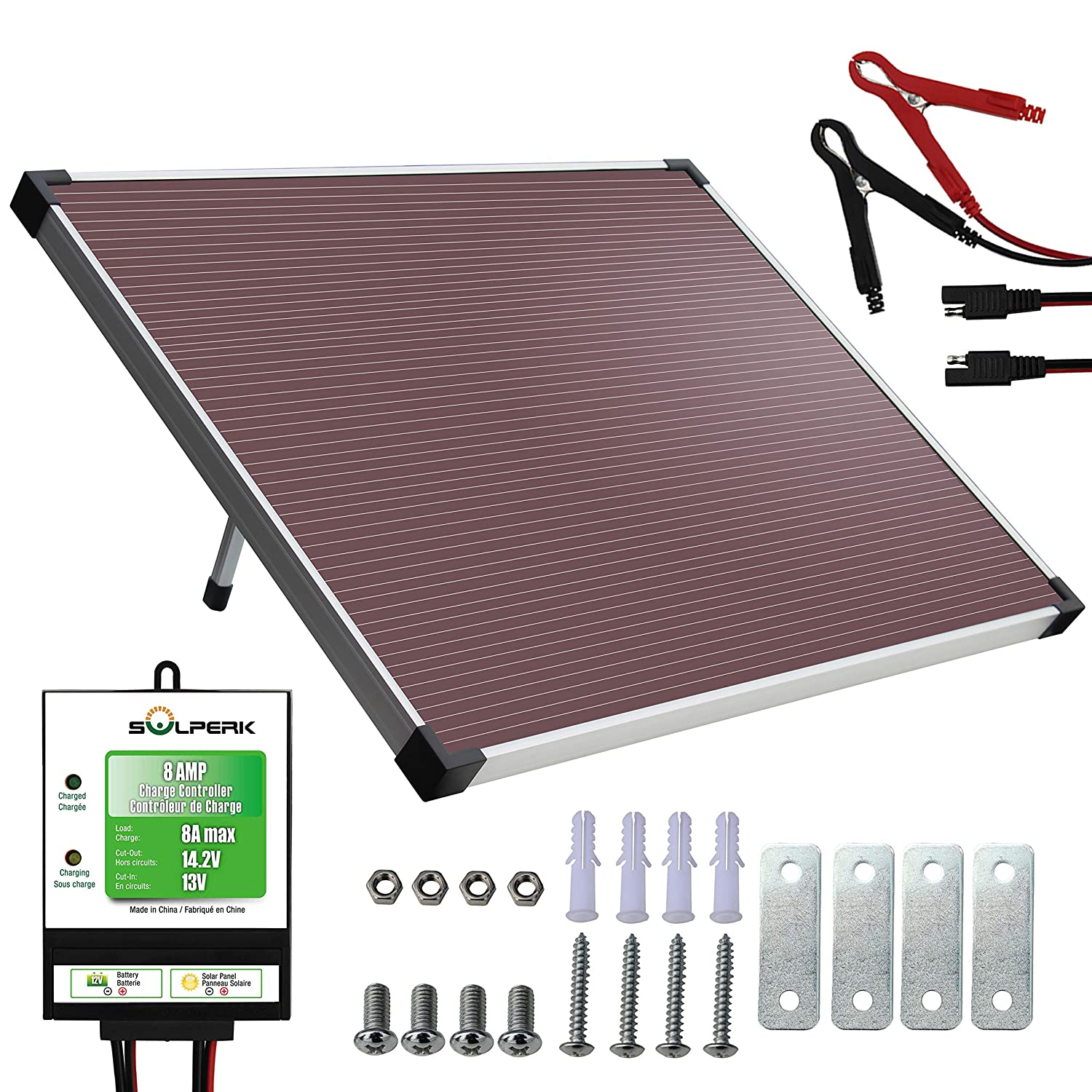 SOLPERK 12V Solar Panel Solar trickle Charger Solar Battery Charger and Maintainer Suitable for Automotive, Motorcycle, Boat, ATV,Marine, RV, Trailer, Powersports, Snowmobile, etc. 30W Amorphous