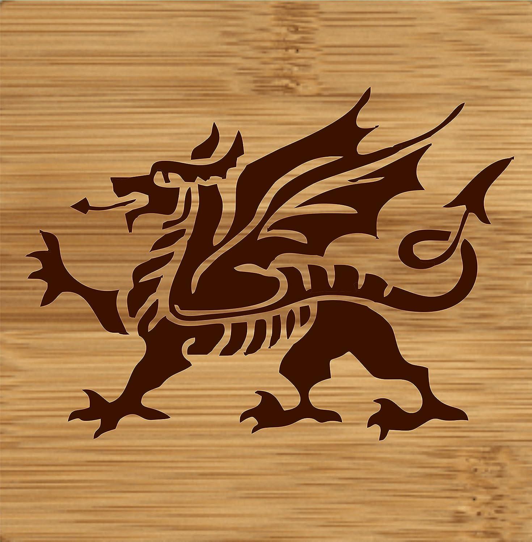 Laser Engraved Wooden Coaster with Welsh Dragon Design