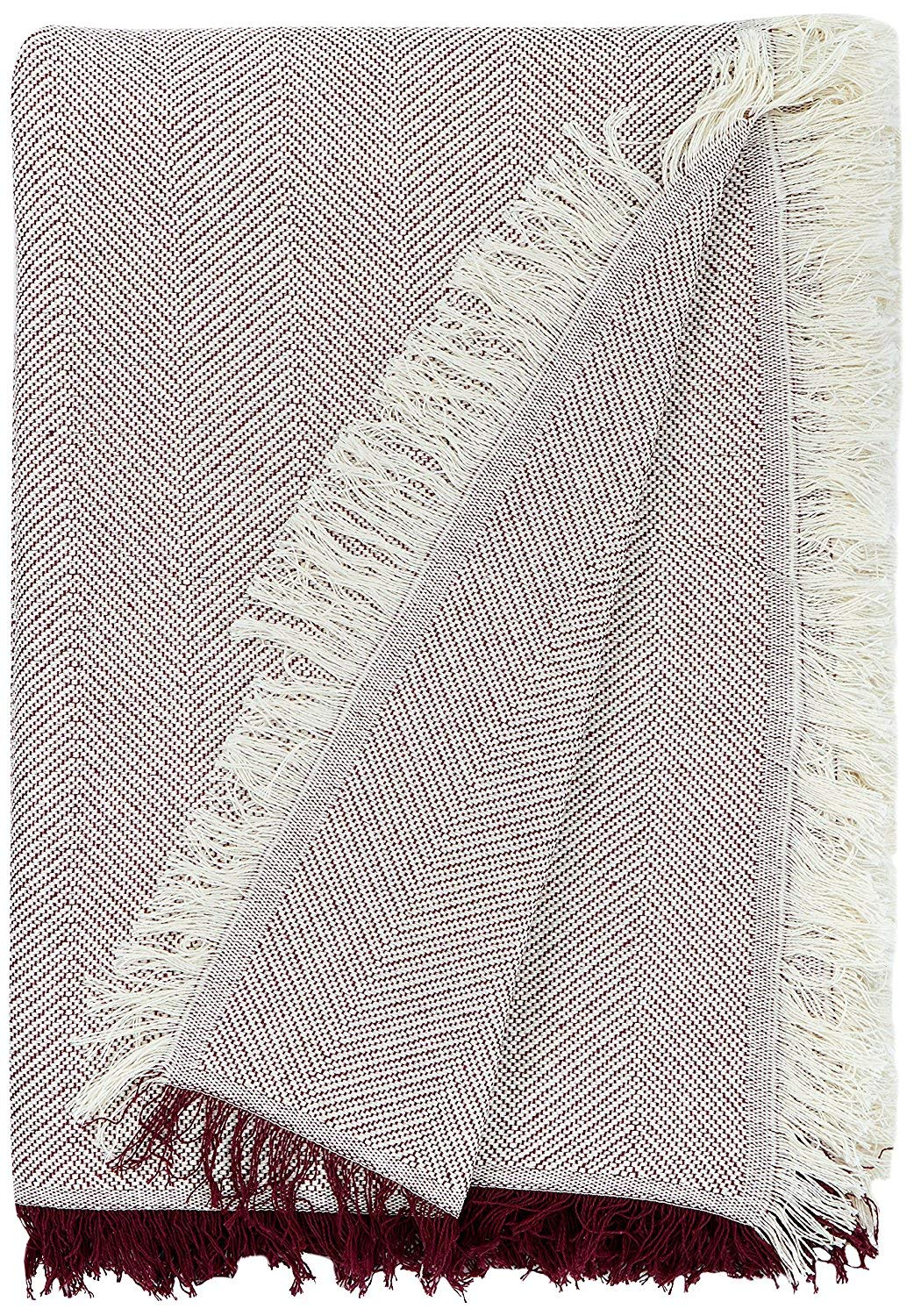 Martina Home Espiga - Foulard Multiusos, Crudo Granate, 180 x 260 cm