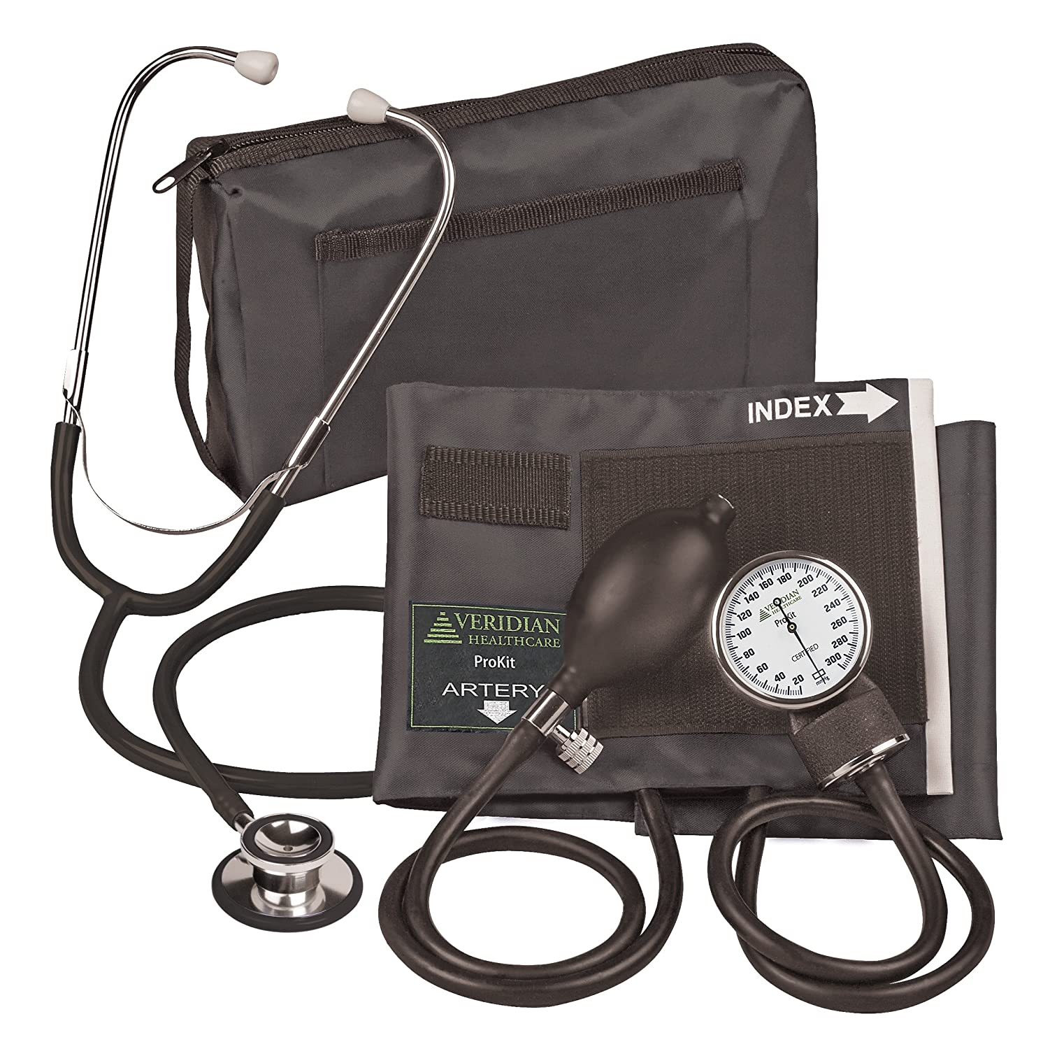 Amazon.com: Veridian 02-12701 Aneroid Sphygmomanometer with Dual-head Stethoscope Kit, Adult, Black: Health & Personal Care