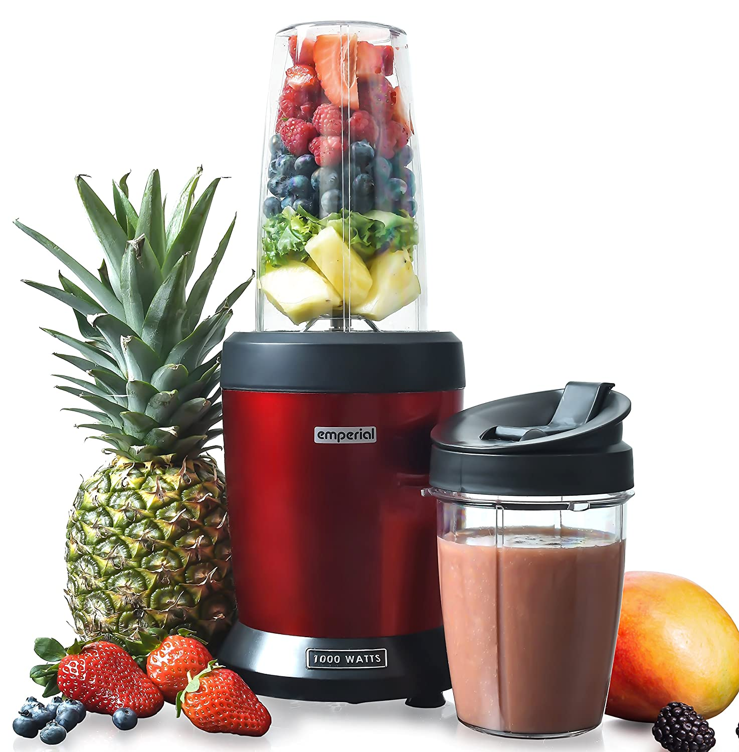 Emperial Blender, Smoothie Maker, Personal blender, 1000W, Red, includes BPA Free 800ml and 500ml Cups