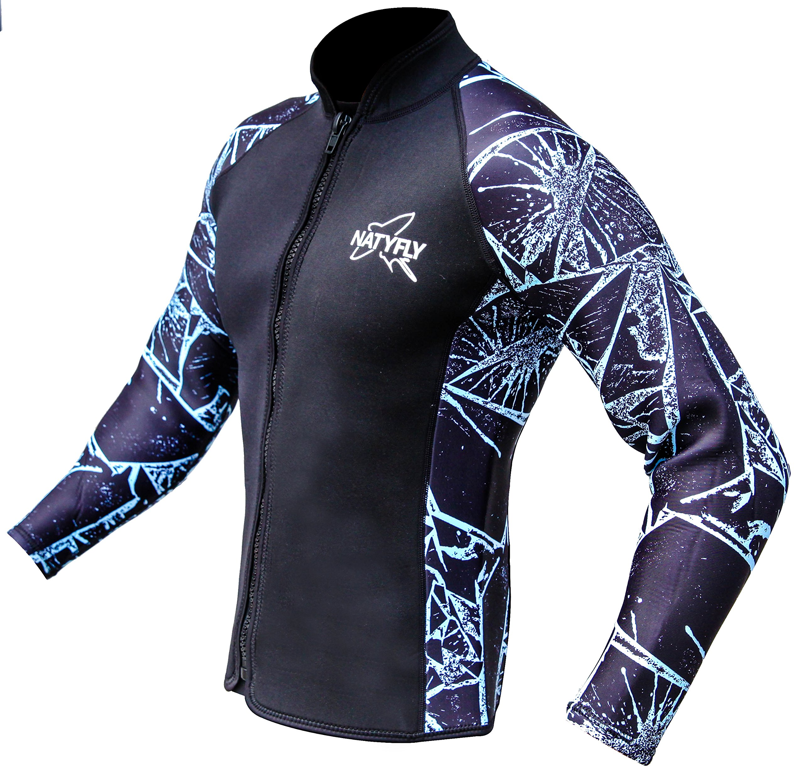NATYFLY Wetsuit Jacket Long Sleeve Neoprene Wetsuits Top for Men/Women (Blue-Neoprene, 3X-Large) by NATYFLY
