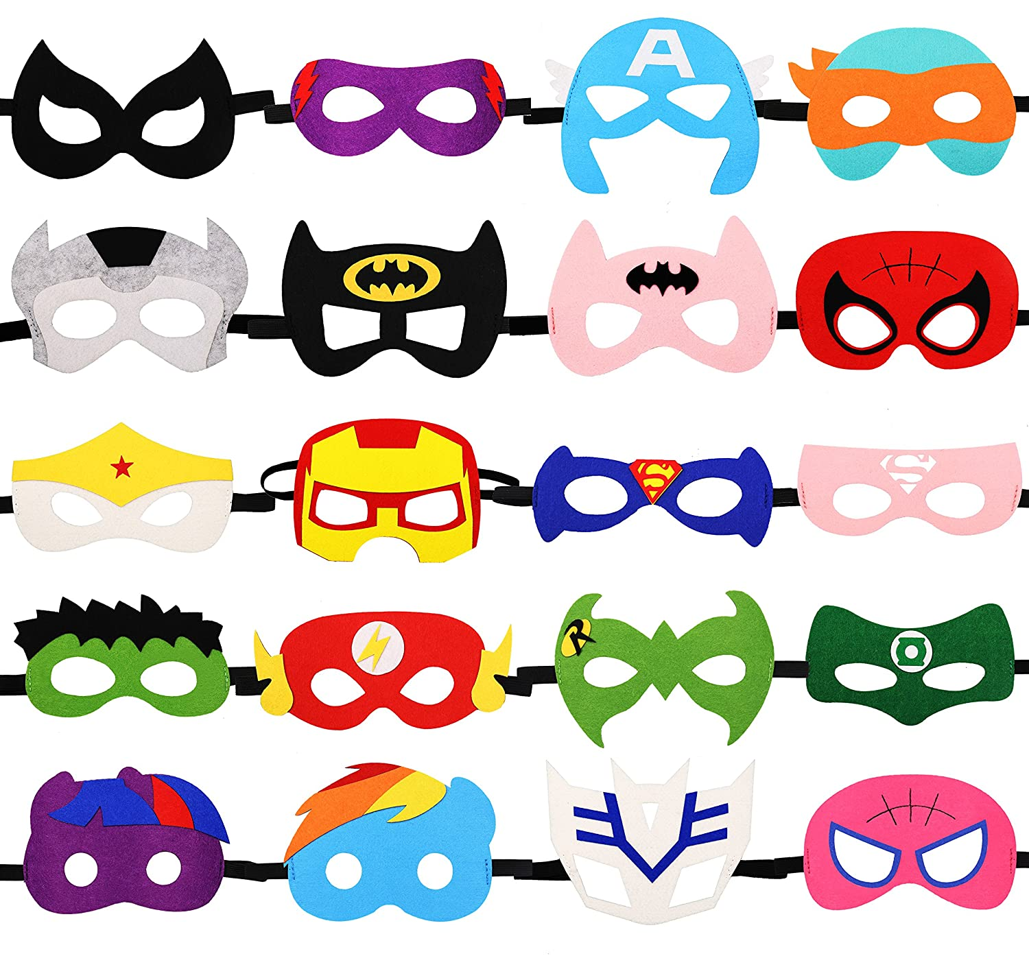 HAMMERHIT Superhero Felt Masks 20 pcs Cosplay Character Soft Mask Party Favor Supplies for Kids Boys or Girls