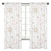 Sweet Jojo Designs 2-Piece Blush Pink, Gold, Grey and White Star and Moon Window Treatment Panels Curtains for Celestial Collection by