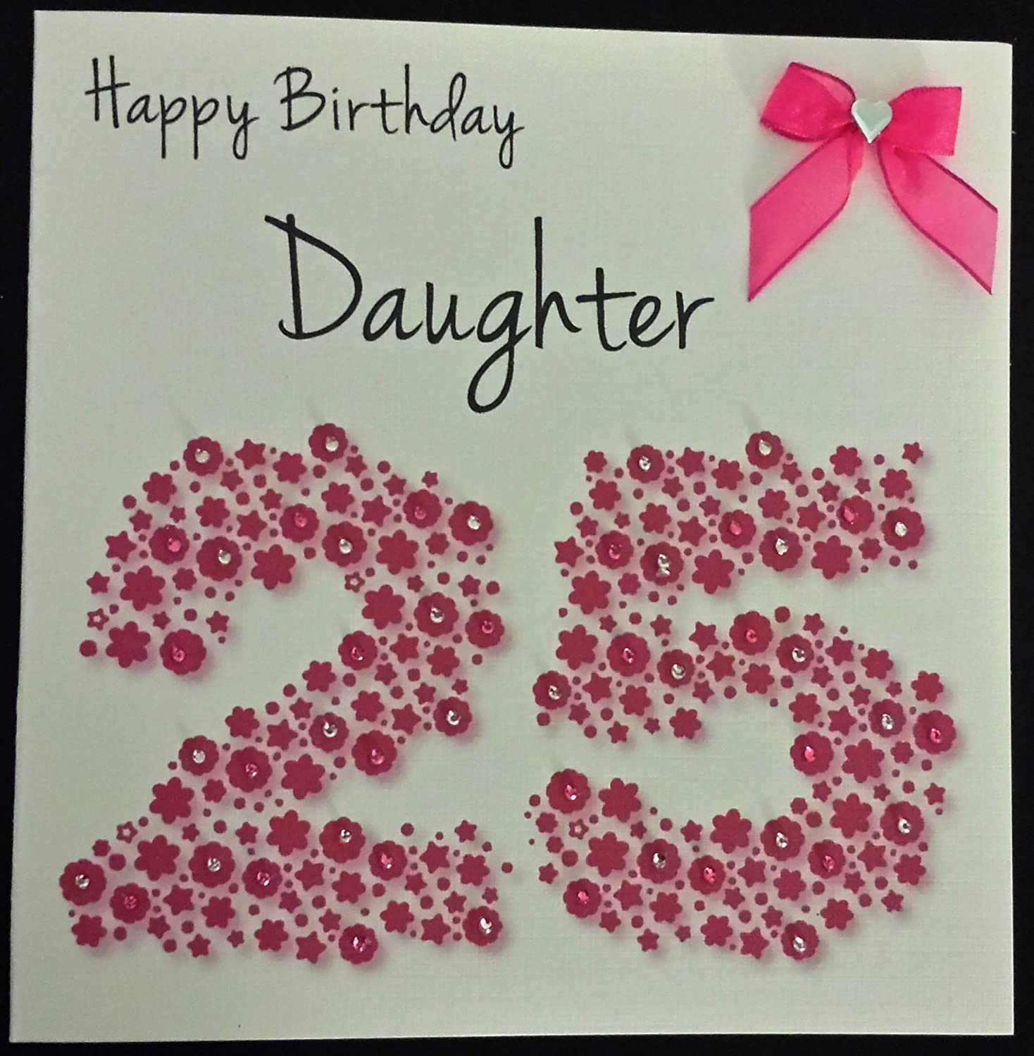 Happy birthday card daughter 25th bright pink flowerbed happy birthday card daughter 25th bright pink flowerbed handmade card amazon office products bookmarktalkfo Gallery