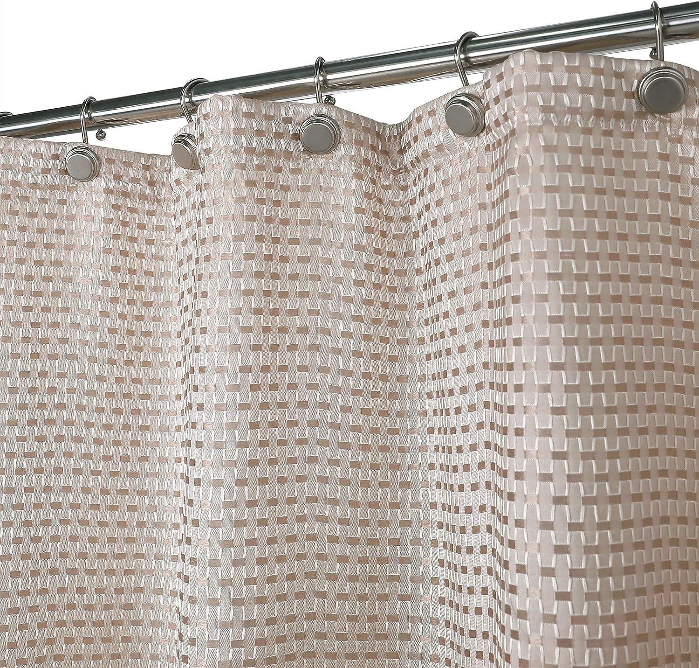Aniello Cream Tan and White Geometric Waffle Fabric Shower Curtain on white spa bathroom, asia spa bathroom, mountain spa bathroom, teak spa bathroom, brown spa bathroom,