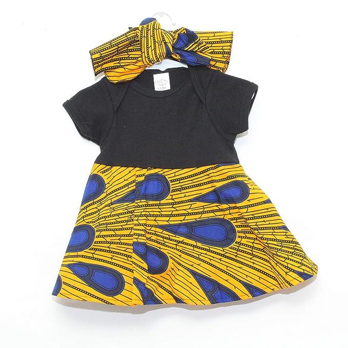 Amazon.com: Mawusi Vestido para bebé, diseño de Ankara ...