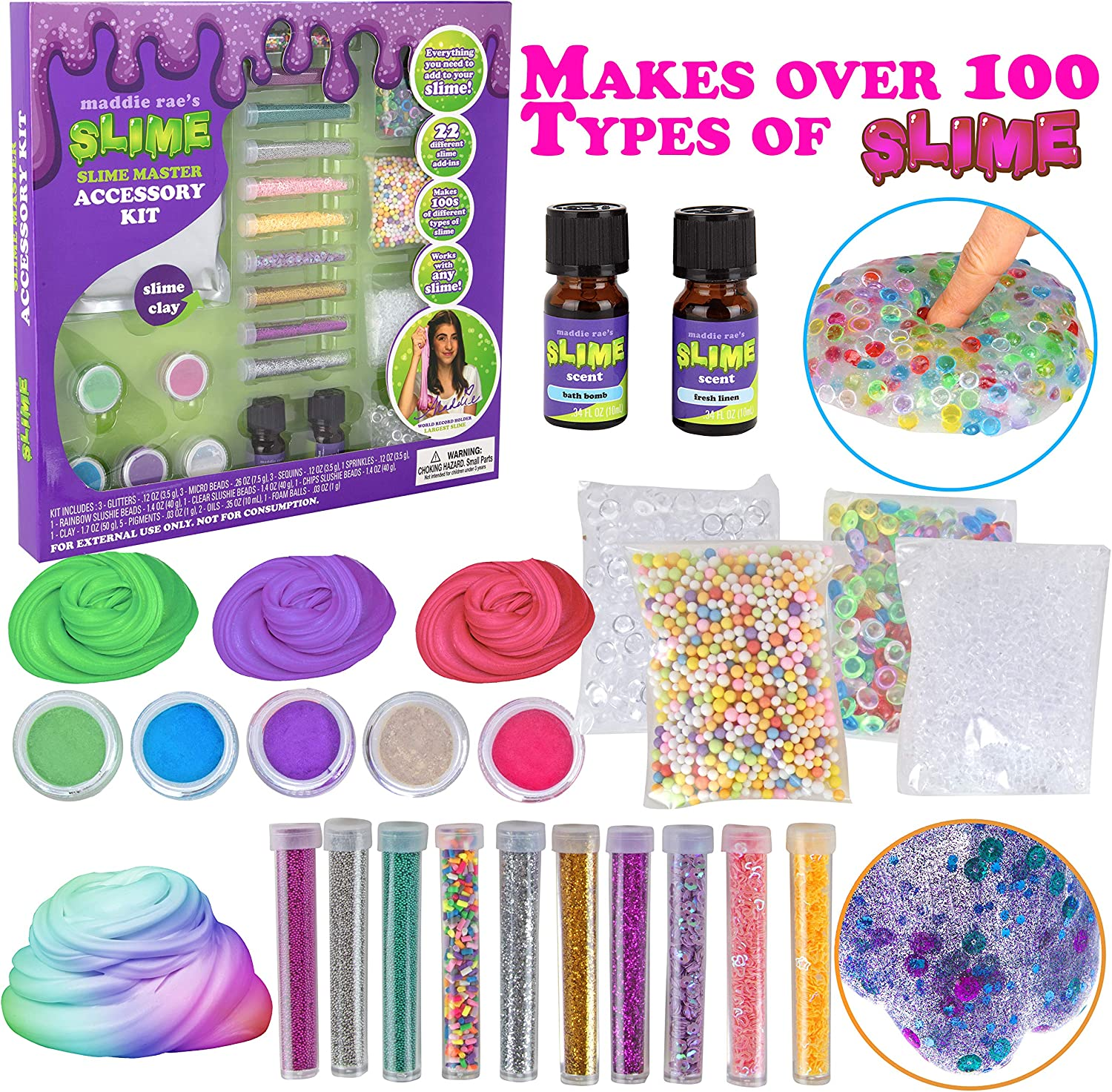 Maddie Rae's Slime Making Master Kit (22 Piece Set)-DIY Supplies Set for Girls Makes 100+ Types of Slime-Create Cloud, Butter, Clear, Slime w/ Microbeads, Glitter, Clay & More, Fun Arts & Crafts Gift