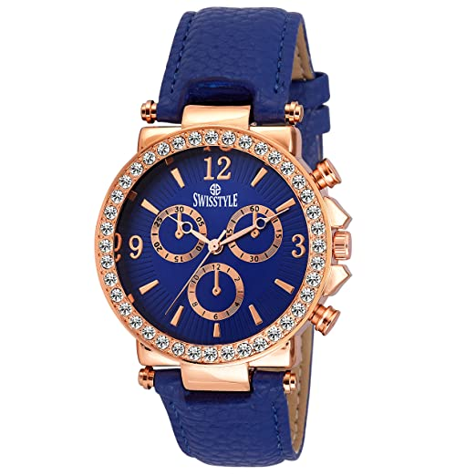 3f4f5da1c43 Buy Swisstyle Analogue Blue Dial Womens Watch-Ss-Lr625-Blu-Blu Online at Low  Prices in India - Amazon.in
