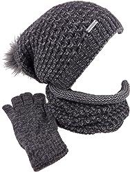 b6e99a14180a4c TEA 3 teiliges Damen Winterset Schal Mütze Handschuhe