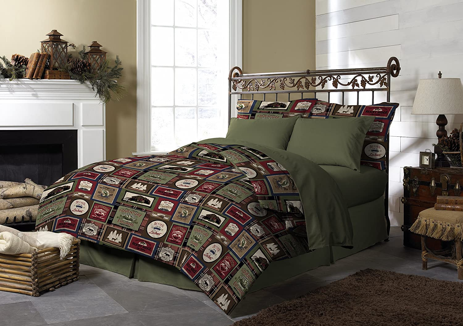 Pine Creek Lodge Comforter Set Including Shams - Premium Luxury Bed Spread, Rustic Southwestern Style Perfect for Hunters, Cabins and Lodges (Forest Lodge, Twin)