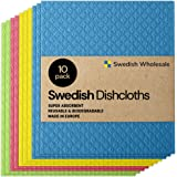 Swedish Wholesale Swedish Dish Cloths - Pack of 10, Reusable, Absorbent Hand Towels for Kitchen, Bathroom and Cleaning Counte