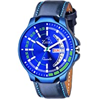 ZIERA ZR946 Blue Leather Strap Day & Date Watch - for Men