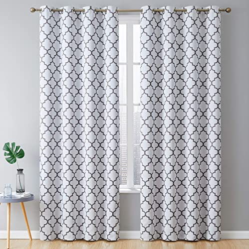 HLC.ME Lattice Print Thermal Insulated Blackout Energy Savings Heat Blocking Room Darkening Grommet Window Curtains Draperie