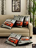 Romee Polyester 3D Printed Cushion Cover 16 inch x 16 inch Set of 5 - Dark Grey