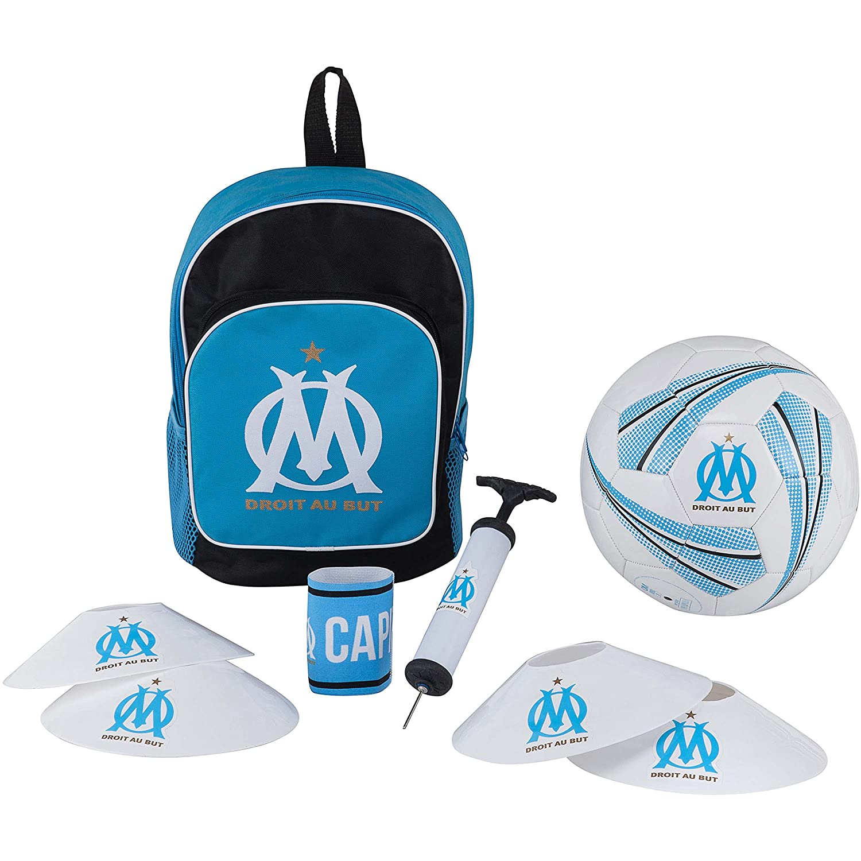 OLYMPIQUE DE MARSEILLE Football Kit OM Sac + Ballon + pompe + brassard - Collection officielle