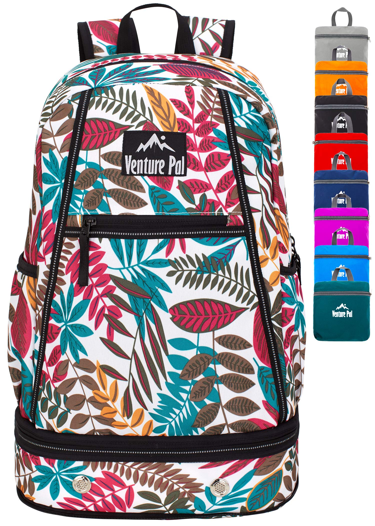 Venture Pal 35L Large Lightweight Packable Hiking Backpack with Wet Pocket & Shoes Compartment Travel Backpack & Day Backpack for Women Mens(White Leaf)