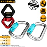 KwikSafety Single, Double & Tandem Pulley / Swing Swivel with 2 Carabiners   Lightweight Aluminum Alloy Climbing Gear   Search & Rescue, Lifting System, Aerial Yoga, Zip line, Hammock Hanging Device