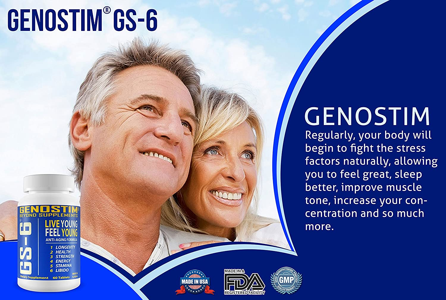 Genostim GS-6® Anti-Aging Protein Peptide Supplement, 100mg of Protein Peptides Stimulates Hormonal Balance for Accelerated Healing for Athletes and Cellular Rejuvenation for Men and Women, 60 Tablets : Health & Personal Care