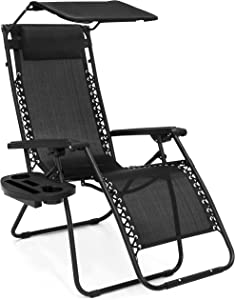 Best Choice Products Folding Zero Gravity Recliner Lounge Chair w/ Adjustable Canopy Shade, Cup Holder Accessory Tray, Headrest Pillow - Black