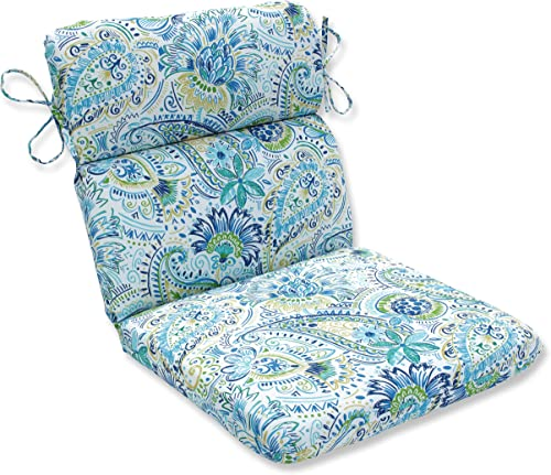 Pillow Perfect Outdoor Indoor Gilford Baltic Round Corner Chair Cushion, 40.5 x 21 , Blue