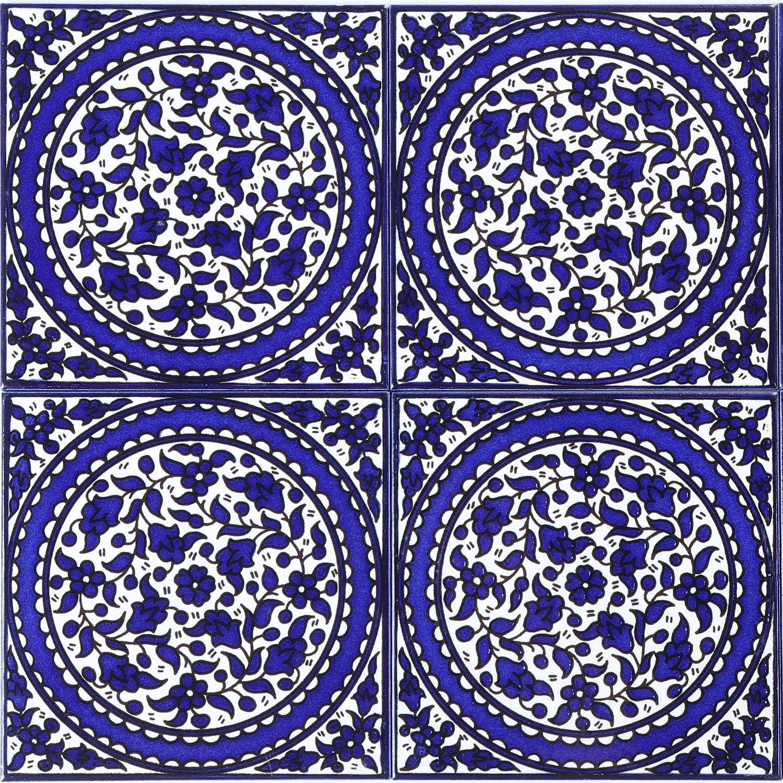 FL8309 Orientalische Fliese handbemalte Keramikfliese Isa 9 14,8 x 14,8 cm Kunsthandwerk aus Pal/ästina Wandfliese f/ür sch/öne K/üche Dusche Badezimmer Dekoration