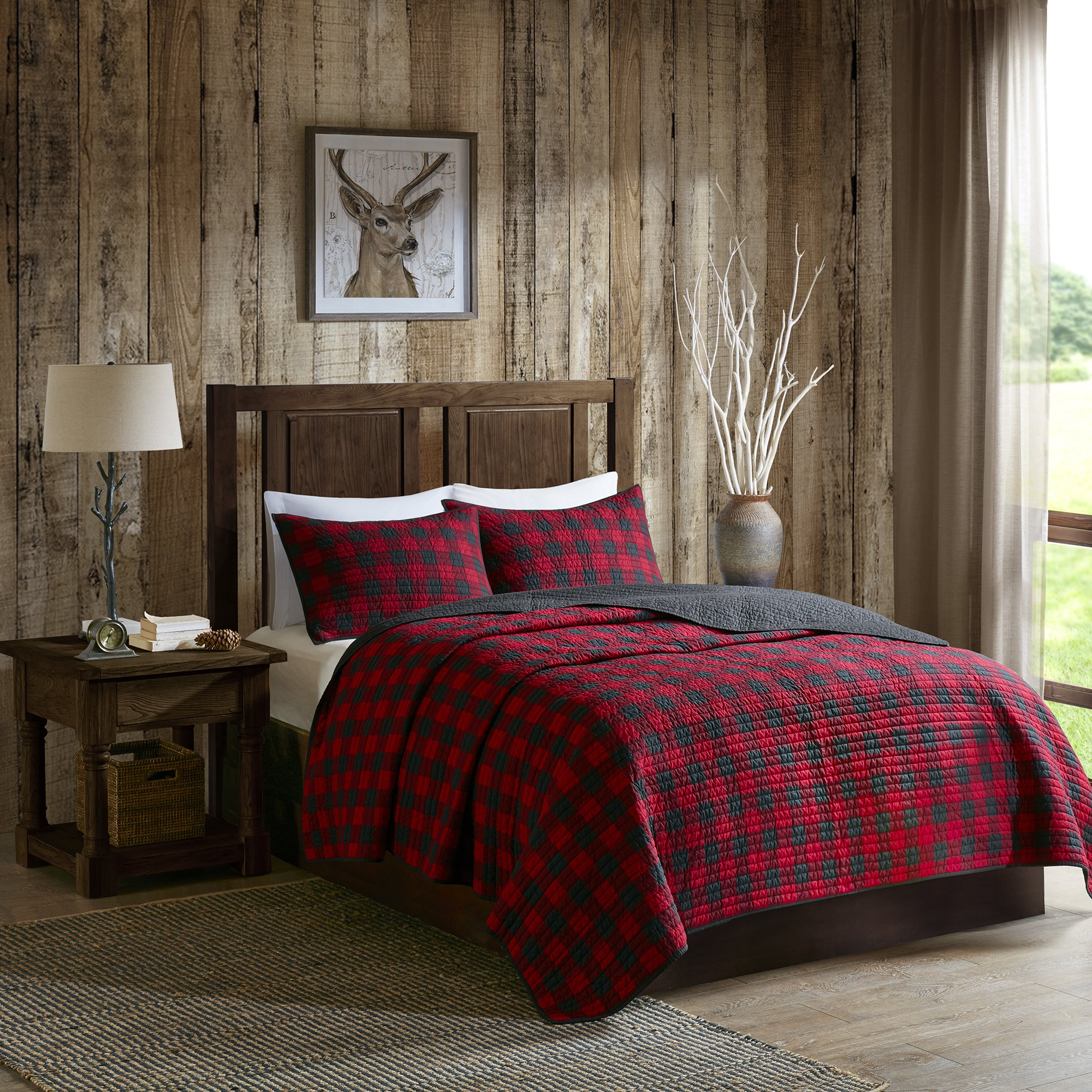 Woolrich Check Full/Queen Size Quilt Bedding Set - Red, Check – 3 Piece Bedding Quilt Coverlets – Cotton Bed Quilts Quilted Coverlet