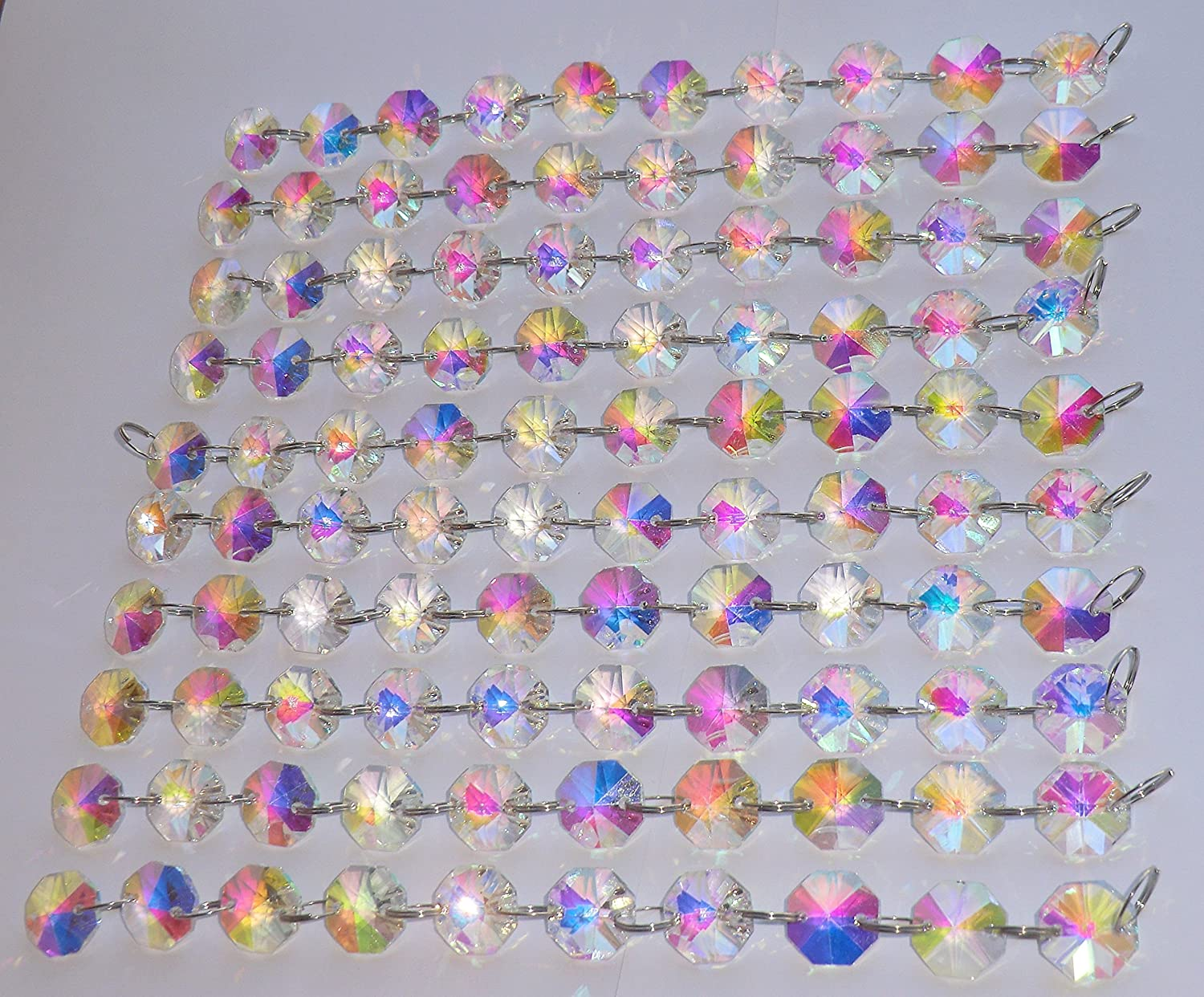 100 Clear Transparent 14mm Octagon Chandelier Drops Light Parts Cut Glass Crystals Droplets Beads Christmas Tree Ornaments Wedding Wishing Decorations Garlands Sun Bead Chains
