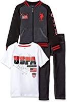 U.S. Polo Assn. Boys' 3 Piece Fleece Jacket, T-Shirt and Denim Pant Set