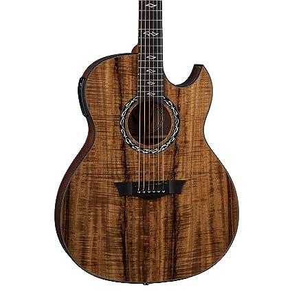 Amazon Com Dean Exhibition 6 String Acoustic Electric Guitar Koa
