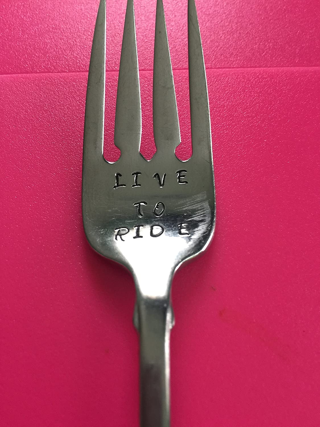1//2 OFF PRICE SALE!! Unique Gift LAST ONE! LIVE TO RIDE ~ PRE-OWNED Hand Stamped Fork
