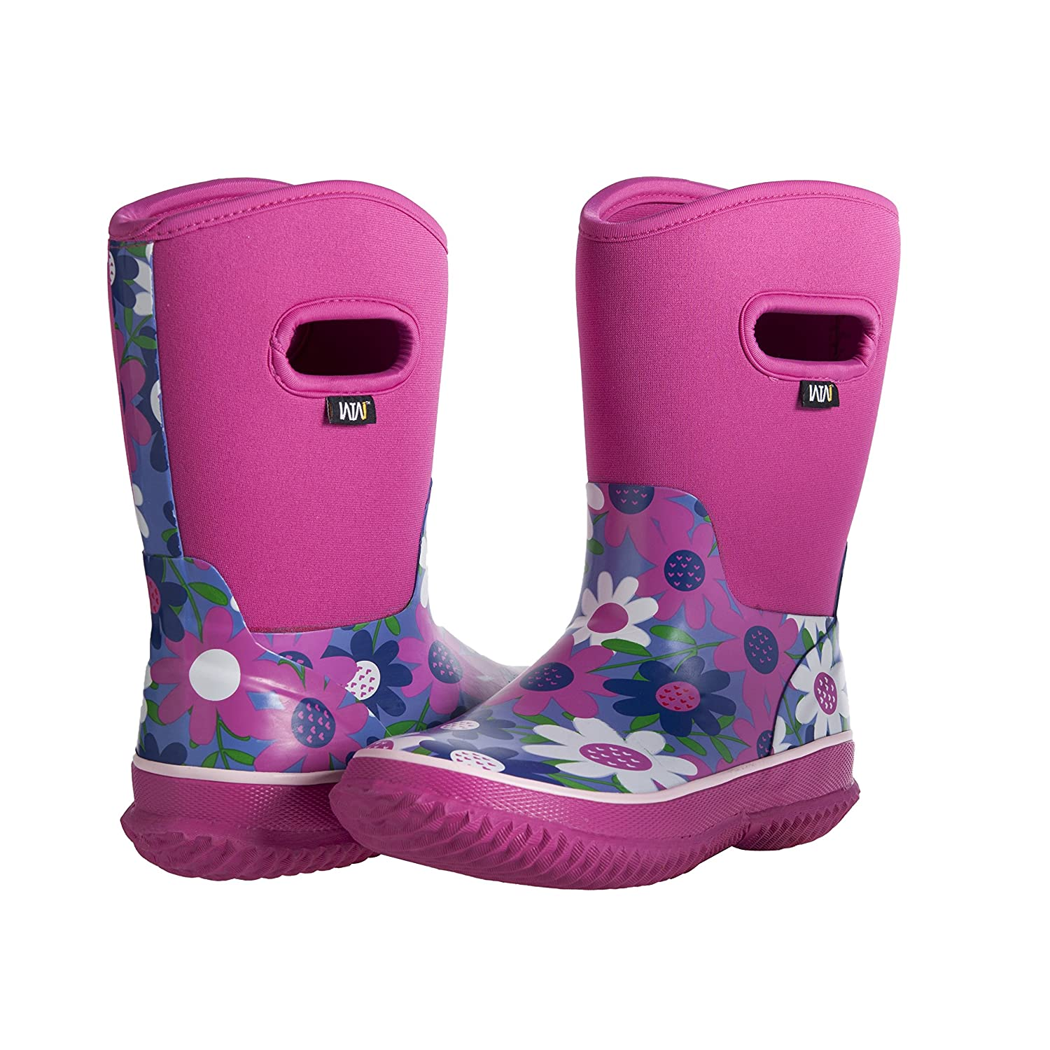 8/° Fahrenheit WTW Girls Rubber Rain Boots Mid Calf Winter Protection up to