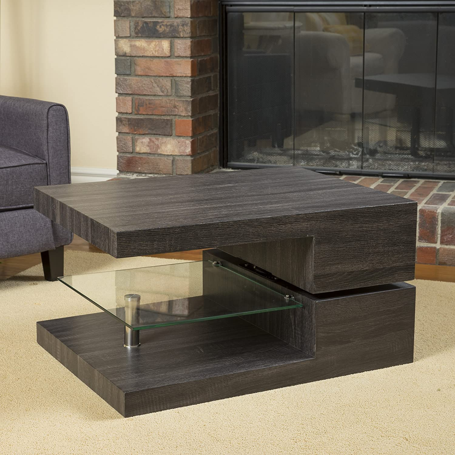 Amazon Bushwick Rectangular Rotating Wood Coffee Table