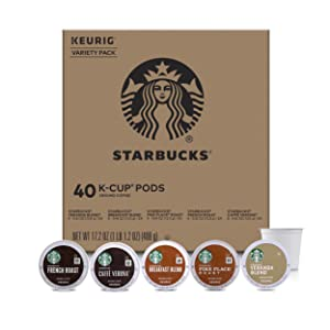 Starbucks Black Coffee K-Cup Variety Pack for Keurig Brewers, 40 K-Cup Pods (5 Roasts With 8 Pods Each)