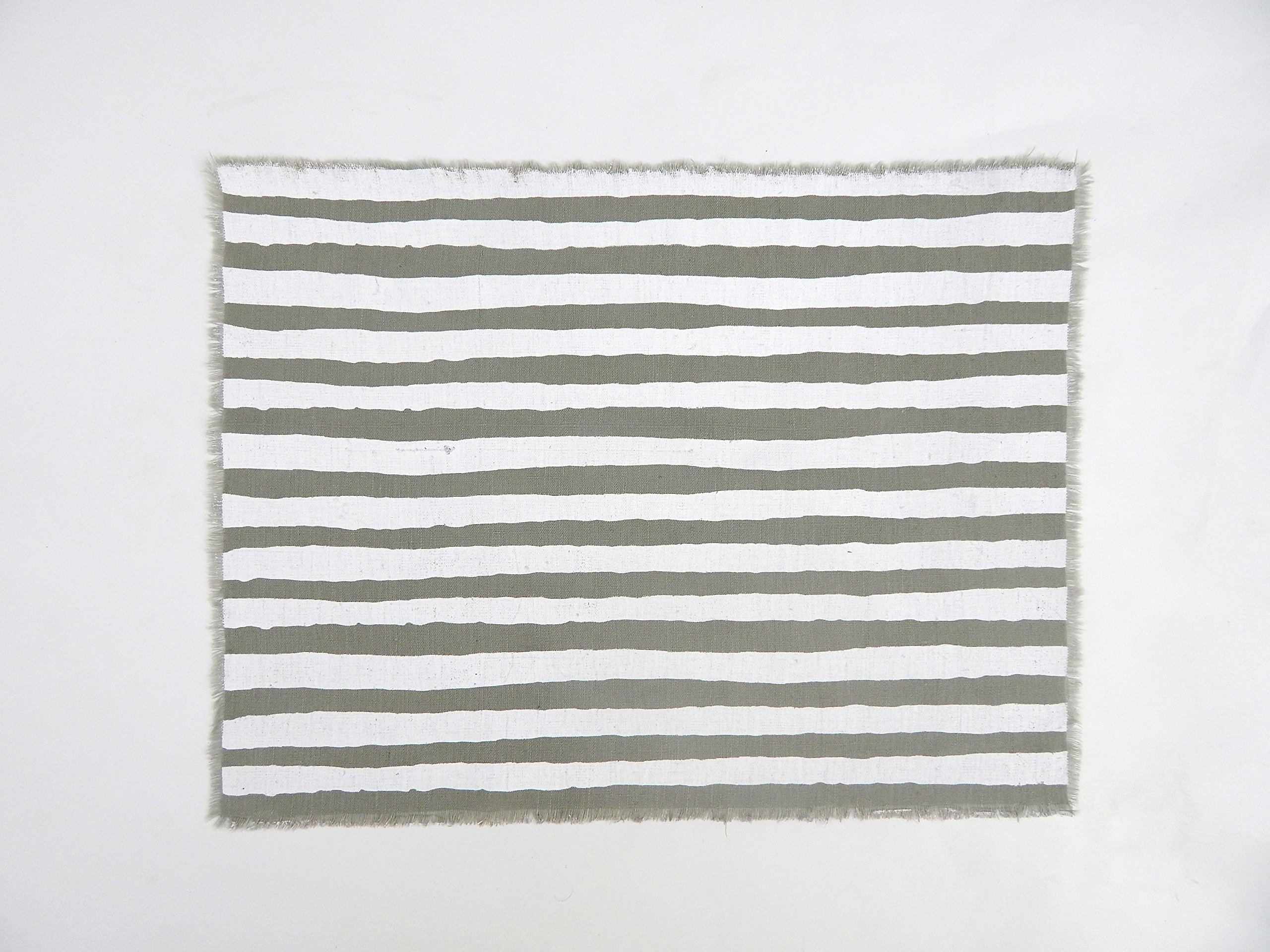 Gitika Goyal Home Windows Collection Cotton Khadi Grey Mat 17x12 Stripe Design, White Hand Screen Print