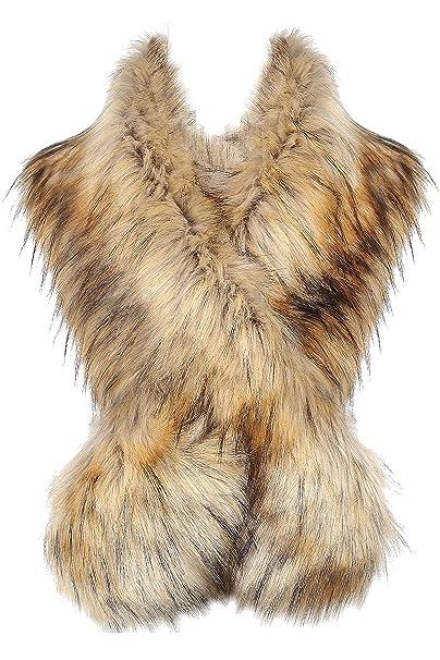 BABEYOND Cuello de piel sintética de las mujeres chal de piel sintética abrigo de la bufanda