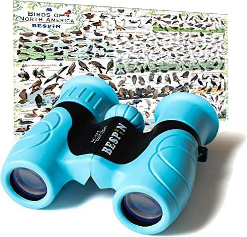 BESPIN Binoculars for Kids 8×21 Bird Watching, High-Resolution Real Optics for Wildlife Watching with Reversible Bird Map – BL –