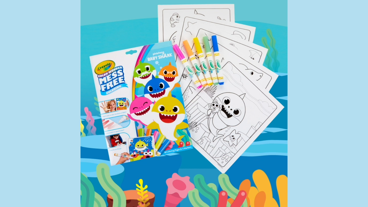 Crayola Baby Shark Wonder Pages, Mess Free Coloring Gift ...