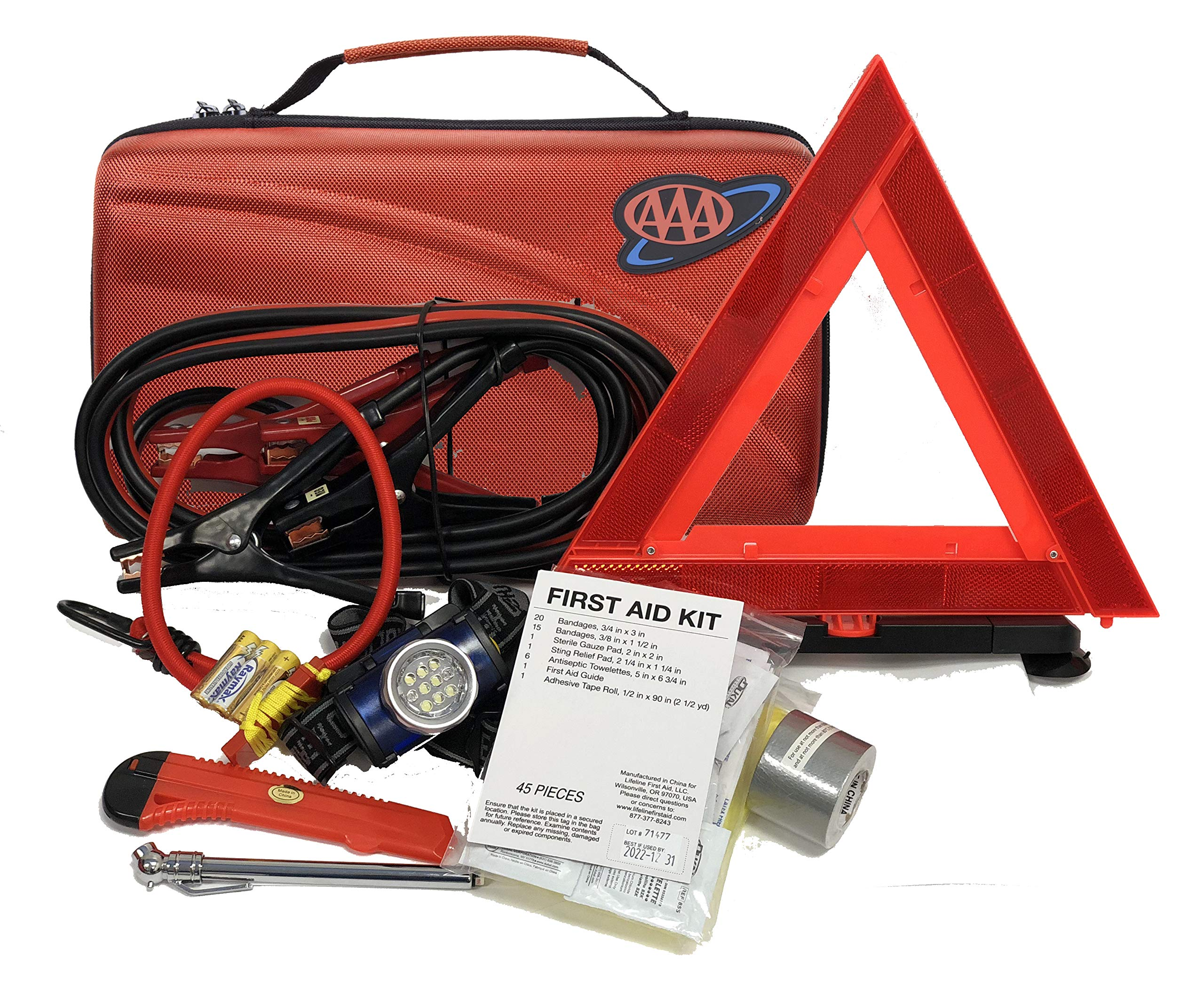 Lifeline 4366AAA 67Pc AAA Executive Road, 67 Piece Emergency Car Jumper Cables, Headlamp, Warning Triangle and First Aid Kit