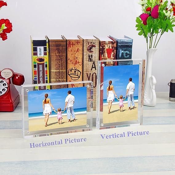 Marcos de Fotos 13x18cm, Acrilico Transparente Marcos de Escritorio con Magnético Y Marco de Fotos Doble Cara(12+12 mm de espesor) por NIUBEE: Amazon.es: ...